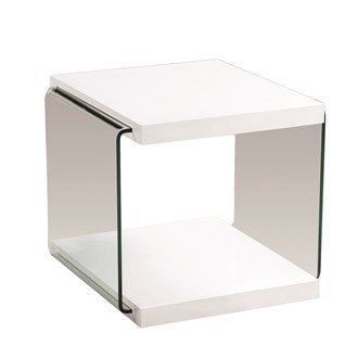 White Gloss Lamp Table 55cm