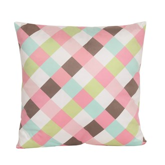 Pink Gingham Cushion 45cm