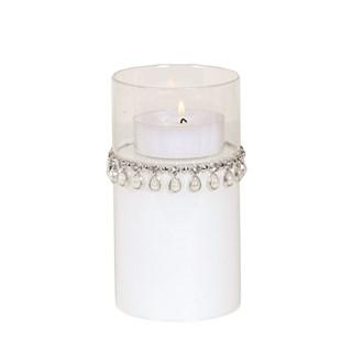 White Jewel Pillar Holder 15cm