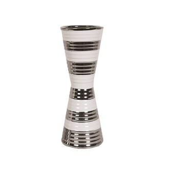 White & Silver Waisted Vase 32.5cm