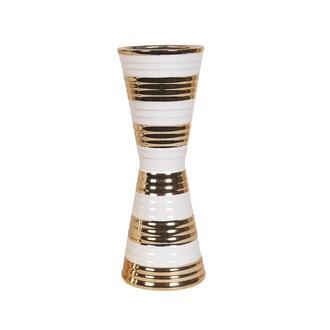 White & Gold Waisted Vase 32.5cm