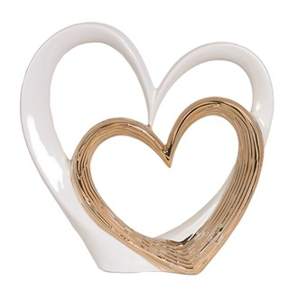 White & Gold Heart Decor 39cm