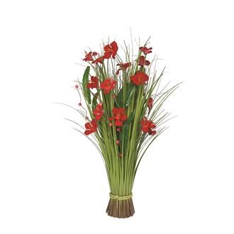 Grass Bundle Red Flowers 70cm