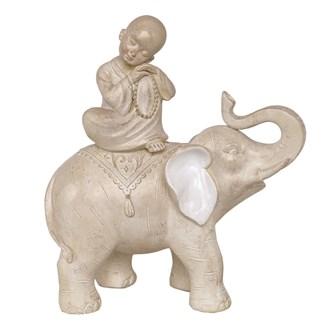 Elephant & Monk Figurine 27.5cm