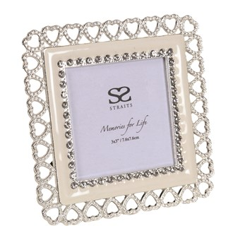 Silver Plated Heart Frame 3x3""