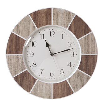 Tile Effect Clock Natural 40cm