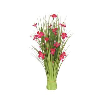 Grass Bundle Pink Flowers 70cm
