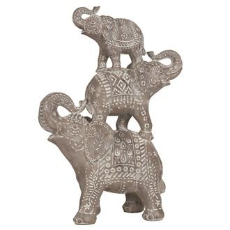 Wood Stacked Elephants Grey 32cm