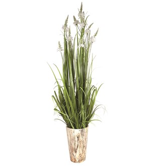 Floral Grass in Marble Pot 156cm