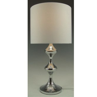 Hammered Effect Lamp Silver 49cm