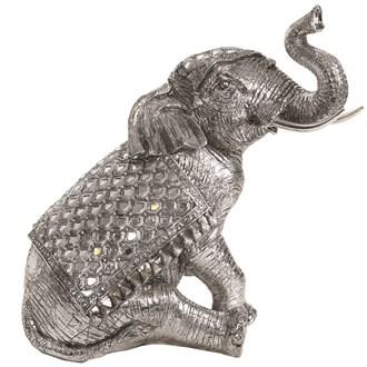 Sitting Elephant Silver 35cm