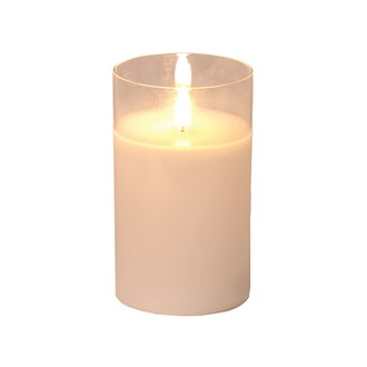 LED Glass Candle 12.55cm White