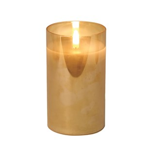 LED Glass Candle 12.5cm Amber