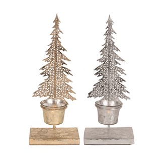 Christmas Tree Tealight Holder 30cm 2 Assorted
