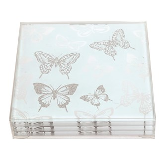 Set of 4 Butterfly Square Coasters 10cm
