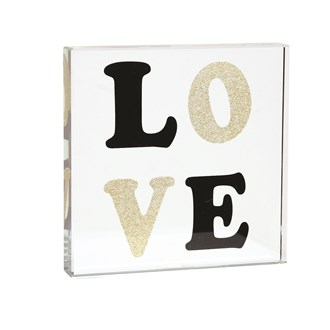 Black & Gold Love Paperweight 12cm