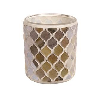 Coral Mosaic Tealight Holder 8.5cm