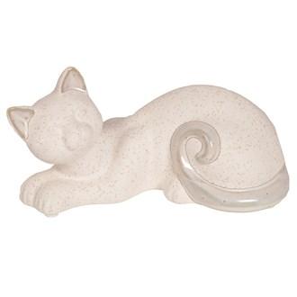 White Laying Cat 20x10cm