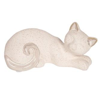 White Laying Cat 16.5x8.5cm