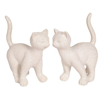 Standing White Cat 15x19cm 2 Assorted