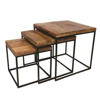 Set of 3 Mango Wood Tables 50/43/36cm