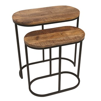 Set of 2 Mango Wood Side Table 60/50cm