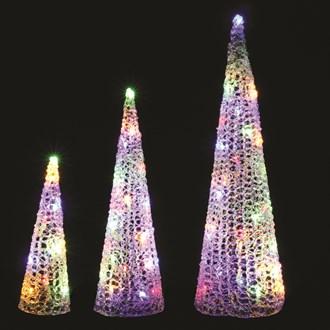 Set of 3 LED Cones (60 lights) 64/48/33cm