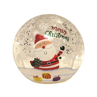 LED Crackle Ball Santa 14cm