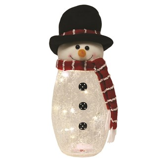 LED Crackle Snowman 38cm