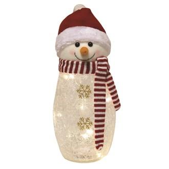 LED Crackle Snowman 38cm