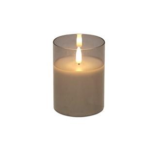 LED Grey Candle 7.5 x10cm