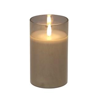 LED Grey Candle 7.5 x12.5cm