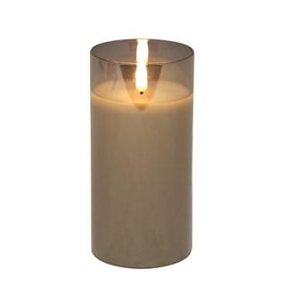 LED Grey Candle 7.5 x15cm