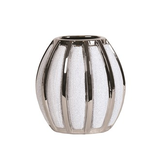 Silver&White Striped Vase 19cm