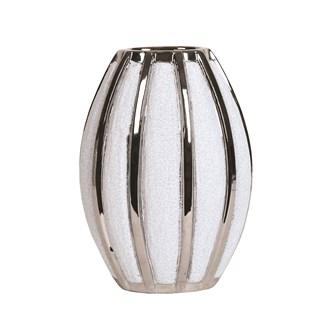 Silver&White Striped Vase 28cm