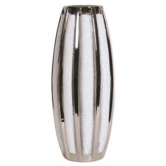 Silver&White Striped Vase 32cm