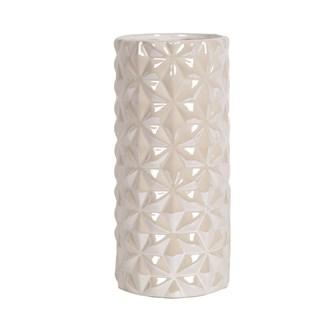 White Lustre Cylin Vase 24.5cm
