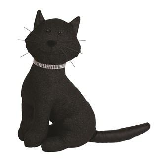 Glitter Cat Doorstop Black38cm
