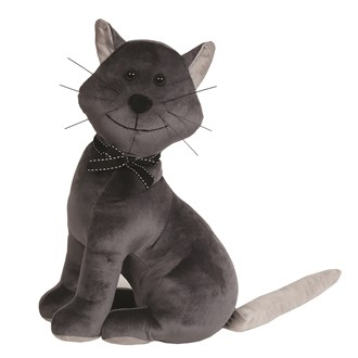 Cat Doorstop Grey 37cm