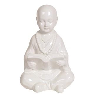 Ceramic Buddha Reading 28cm