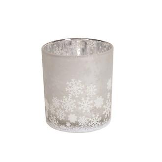 White Snowflake Tealight Holder 8cm