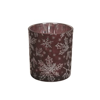 Red Snowflake Tealight Holder 8cm