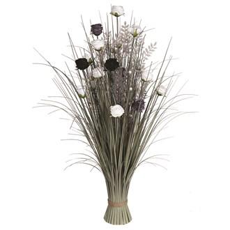 Grass Floral Bundle Black and White Rose 100cm