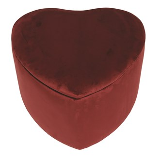 Heart Storage Pouffe 46cm Red