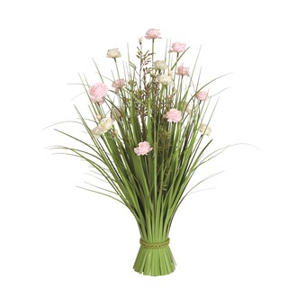 Grass Floral Bundle White & Pink Roses 70cm