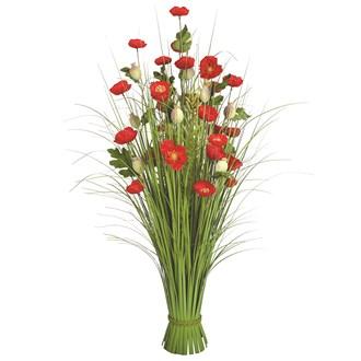 Grass Floral Bundle Red Poppy 100cm