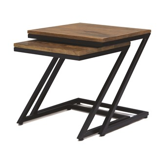 Mango Wood Set of 2 Tables 45/30cm