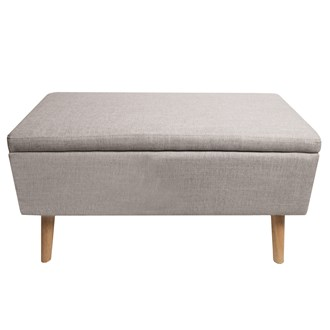 Grey Rectangular Storage Ottoman 90x44x47cm