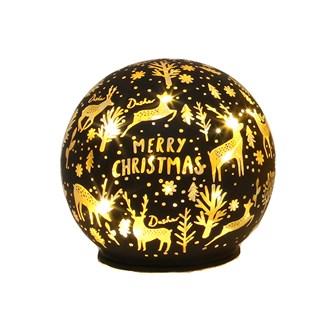 LED Xmas Ball Black 9.5cm
