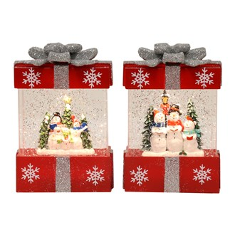 Gift Box Spinner Snowmen with Sliver Bow 2 Assorted 18.5cm